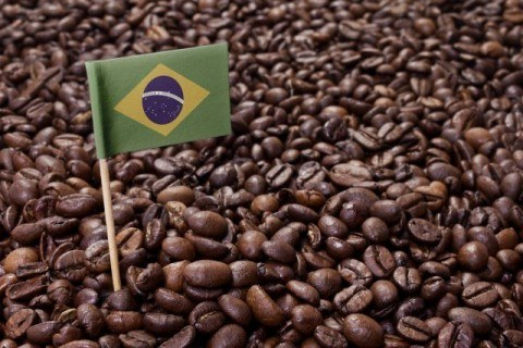 Flag of Brazil coffee