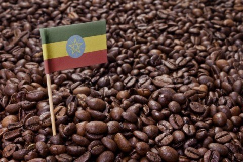 Flag of Ethiopia coffee