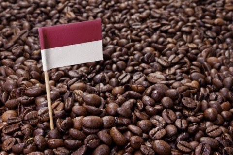 Flag of Indonesia coffee