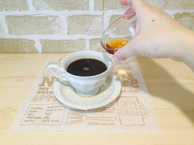 ブランデーコーヒー_ブランデー加える