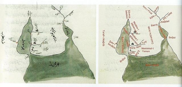 コーヒーの起源_アラビア古地図
