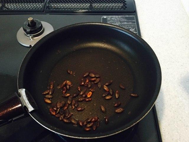 かぼちゃの種の煎り方6分後の様子