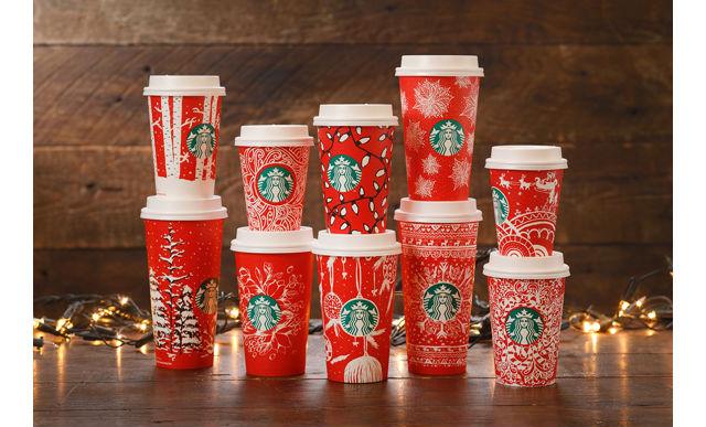 """【スターバックス】10種類の""""Starbucks Red Holiday Cups""""が世界の店舗に一斉登場"""