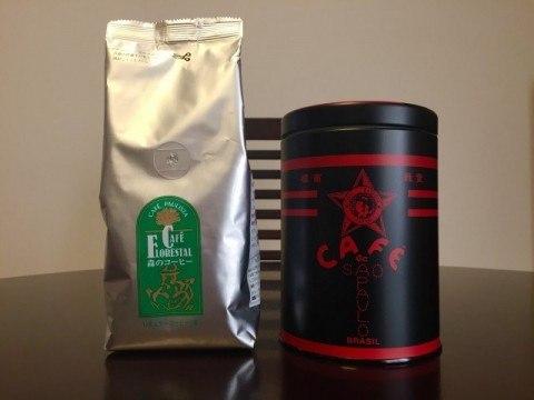 カフェーパウリスタ森のコーヒー袋と缶
