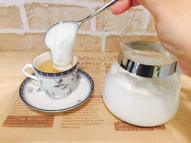 ノンカフェイン_かぼちゃコーヒー_アレンジ_フォームミルクをのせる
