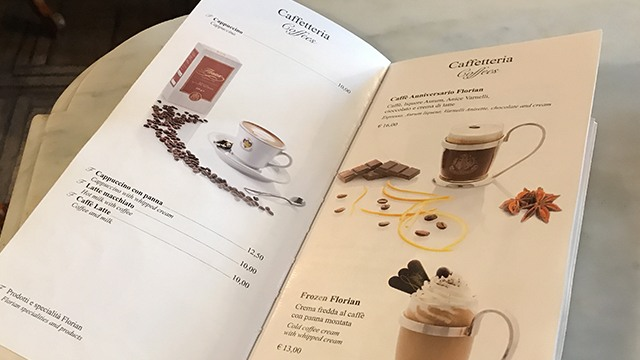 caffeflorian イタリア ヴェネツィア メニュー